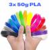 3x 50g PLA 3D850 Mix Color Sample 1.75mm