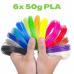 6x 50g PLA 3D850 Mix Color Sample 1.75mm