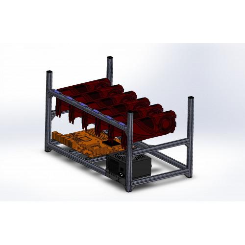 Kit 6GPU Mining rig open metal frame case without fans